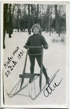 ON SALE 1931 antique photo of a little boy with kicksledge