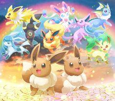 Eevees and Eeveeluions 3d Pokemon, Pokemon Kalos, Pokemon Eevee Evolutions, Pokemon Fan Art, Eevee Wallpaper, Cute Pokemon Wallpaper, Cute Cartoon Wallpapers, Cute Pokemon Pictures, Cute Kawaii Animals
