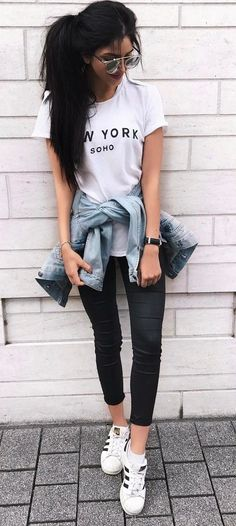 ootd t shirt skinnies denim jacket The Best of fashion trends in 2017.
