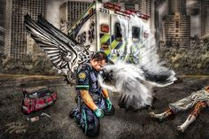 Artist's image shows an EMT receiving comfort from an angel after losing a patient Emergency Medical Services, Emergency Response, No Response, Trauma, Ems Humor, Firefighter Paramedic, Volunteer Firefighter, Ange Demon, Emergency Medicine
