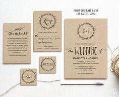 Klassische Kranz Druckbare Hochzeit Einladung Vorlage, Rustikale  Hochzeitseinladung, Hochzeitseinladungen Kraft, 3 Farben Enthalten,  Editierbaren Text
