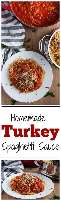 This homemade spaghetti sauce recipe is lightened up with ground turkey, but is so flavorful you'd never know it! - Feasting Not Fasting