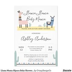 Shop Llama Mama Alpaca Baby Shower Invitation created by CrissyDesignCo. Custom Baby Shower Invitations, Party Invitations, Baby Llama, Baby Favors, Boho Baby Shower, Bridal Shower, Oh Deer, Paper Design, Party Supplies