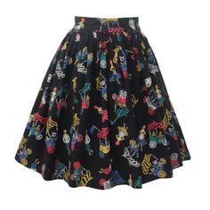 1950s whimsical print dirndl skirt - Love Miss Daisy Vintage