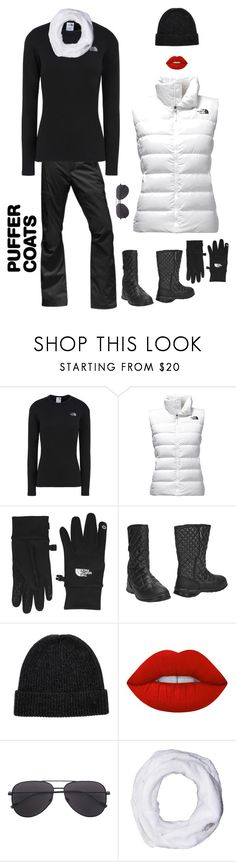 """""""Puffer Vests"""" by kotnourka ❤ liked on Polyvore featuring The North Face and Lime Crime"""