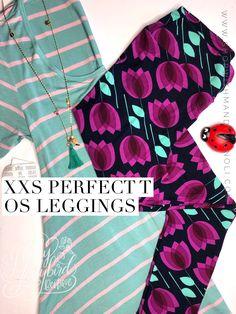 Hello perfect spring outfit!  I am having major size envy! Are you? Shop this look and more at www.shopwithmandyvignoli.com #lularoeperfectt #stripes #springfashion #leggings #lularoeleggings #flatlay #tulips