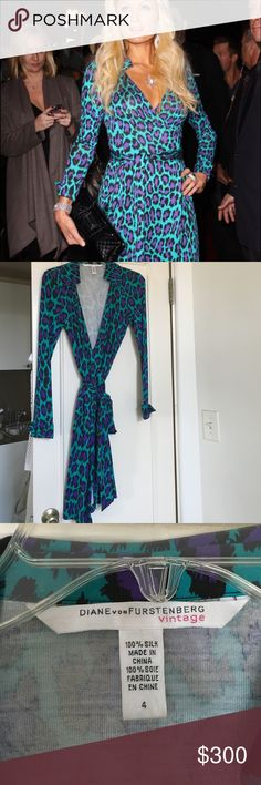 Rare Diane Von Furstenberg Jeanne Leopard dress 4 Worn once. Like new. Beautiful colors and very hard to find! Size 4 Diane von Furstenberg Dresses Long Sleeve