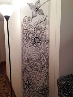 Room Decor Pared Mandalas 49 New Ideas Mandala Drawing, Mandala Art, Wall Art Designs, Wall Design, Art Room Doors, Bedroom Murals, Wall Drawing, Ideias Diy, Mural Wall Art