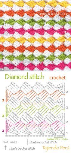 Crochet: diamond stitch pattern!