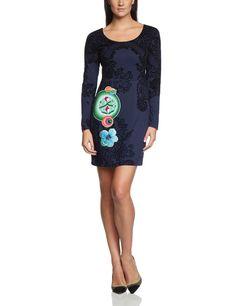 Desigual Women A-line dress, long sleeve 36V2110, blue (marino 5001), 42 (DE L / XL FR): Amazon.de: Clothing