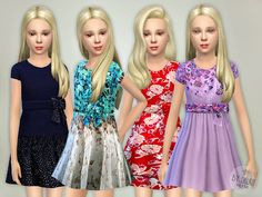 Designer Dresses Collection P02 by lillka at TSR via Sims 4 Updates