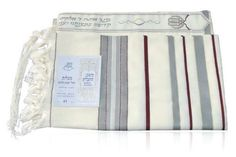 Wool Ma'alot Tallit with Grey, Bordeaux and Gold Stripes by World of Judaica. $97.00. This wool Ma'alot Tallit has thin Bordeaux stripes and gold lines that accent thick grey bands on the sides, Atara at the top and Tzitzit attached to each corner. This impressive wool Maalot Tallit features grey bands on the sides that are accented by thin red stripes and gold lines and has fringes on the sides. The Tallit has an Atara attached to the top that is embroidered ...