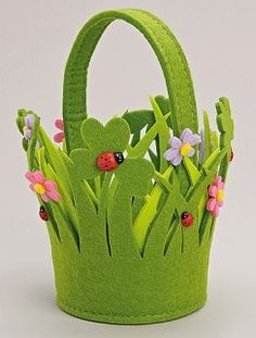 Lucky Clover Felt Basket with Ladybirds, Flowers and Handle