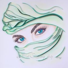 """Quilling Art and Drawing Art: """"The Seductions of the Turquoise"""" Colourful Paper Art, Wall Art, Framed, Hand drawn"""