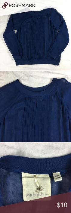 One Fine Day sheer blue rayon long sleeve shirt One Fine Day sheer blue rayon long sleeve shirt   Women size: L   100 rayon   Approx measurements: armpit to armpit – 22 inches; length – 23 1/2 inches;   Machine wash   Gently used – see pictures One Fine Day Tops