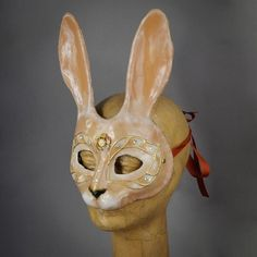 Tan colored Bunny Rabbit Masquerade Mask with gems and Swarovski cryst – Erik's Inspiration Bunny Costume, Masquerade Party, Dichroic Glass, Bunny Rabbit, Mask Design, Swarovski Crystals, Masks, Skull, Gems