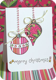 I am loving this ornament card made by Lea!  Just look at that bling and those colours!