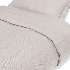Grey duvet cover in herringbone pattern