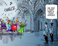 Cartoon: Liberals as Camelot Sunny Days, Sunnies, Cartoon, Engineer Cartoon, Sunglasses, Cartoons, Eyewear, Comics