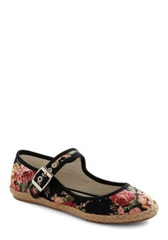 Thorn This Way Flat - Black, Floral, Buckles, Multi, Green, Pink, Brown, Braided, Casual. $39.99
