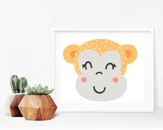 Critter Face Print - Monkey Print, Printable Wall Art, 8x10 Kids Print, 8x10 Nursery Print, Printable Home Decor, 8x10 Print, Kids Bedroom by creamcityprintables on Etsy https://www.etsy.com/listing/522191310/critter-face-print-monkey-print