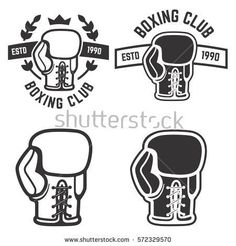 Set of boxing club emblems templates isolated on white background. Design elements for logo, label, badge, sign. Boxing Gloves Tattoo, Boxing Tattoos, Boxing Club, Boxing Girl, Boxing Boxing, Sports Art, Sports Logo, Badge Design, Logo Design