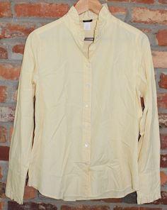 $29.95 OBO Women's j. crew yellow & blue stripe ruffle collar long sleeve button down shirt size 12