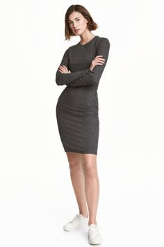Ribbed jersey dress - Dark grey marl - Ladies | H&M CA 1