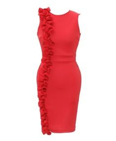 Description of Red Falbala Women's Bodycon Dress Plus Size Dresses, Dresses For Work, Formal Dresses, Dress Outfits, Fashion Dresses, Online Fashion Stores, Classy Dress, African Dress, Traditional Outfits