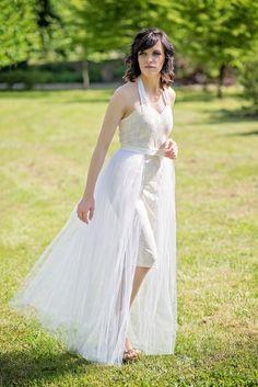 Modern bride  tulle overskirt / overlay by WardrobeByDulcinea