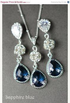 Navy blue,sapphire blue Wedding Jewelry Bridesmaid Gift Bridesmaid Jewelry Bridal Jewelry tear Earrings & necklace SET,bridesmaid gif