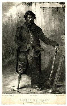 Portrait of a black man wearing a long coat and with a wooden leg, right hand holding a hat and left hand resting on a broom handle, wooden ...