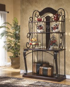 Alyssa Baker's Rack with Scroll Bronze finish by Signature Design by Ashley Furniture at Sam's Furniture & Appliance Bakers Rack Kitchen, Bakers Cabinet, Dining Room Furniture Sets, Dining Room Sets, Cabinet Furniture, Sitemap Design, Bakers Rack Decorating, Decorating Ideas, Decor Ideas