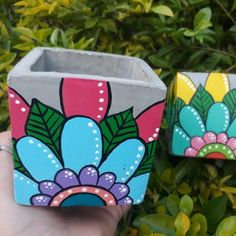 Diy Concrete Planters, Diy Planters, Painted Pots, Nara, Clay Pots, Terracotta, Diy And Crafts, Cactus, Projects To Try