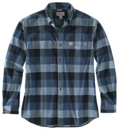 Carhartt Rugged Flex Relaxed Fit Flannel Plaid Long-Sleeve Shirt for Men | Bass Pro Shops Plaid Flannel, Flannel Shirt, Dark Khaki, Dark Blue, Long Sleeve Shirts, Shirt Sleeves, Carhartt, Spandex Fabric, Men Casual