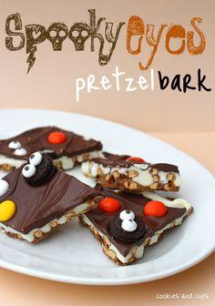 Spooky Eyes pretzel bark