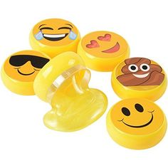 "Includes a single assorted emoji slime A 2"" Diamater yellow emoji slime that is a great gift555 or novelty toy Fun"