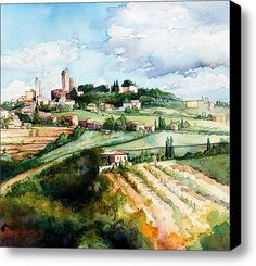 San Gimignano Stretched Canvas Print / Canvas Art By Jim Smither