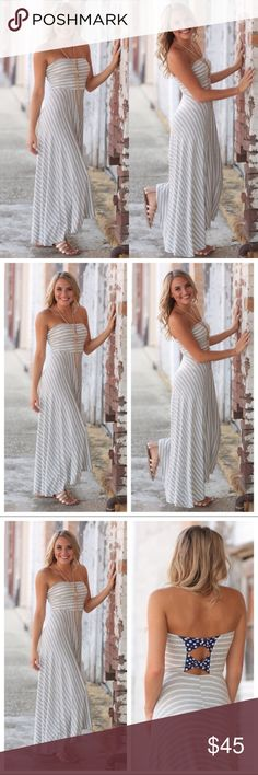 """Striped Hi Low Strapless Maxi 95% Rayon, 5% Spandex. Bust: S-14"""", M-15"""", L-16"""" Length: Front/Back S-40/60, M-41/47, L-42/48. Price Firm unless bundled. 10% Off Bundles of 3 or more. Dresses Maxi"""
