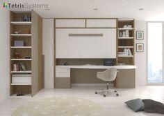 dormitorio juvenil con cama alta plegable y escritorio especial