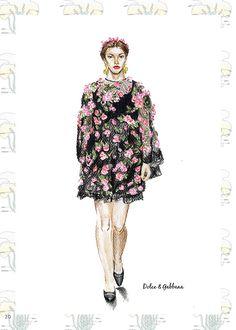 Dolce & Gabbana Spring 2014 #aleksandrastanglewicz #fashionillustration #illustration #catwalk #spring2014 #flowers #dolceandgabbana