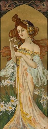 """""""He Loves Me, He Loves Me Not,"""" by Mary Golay, French Art Nouveau Decorative Panel, circa Antique Art, Vintage Art, Vintage Sewing, Art Nouveau Mucha, Art Nouveau Illustration, Fantasy Images, He Loves Me, Silk Ribbon Embroidery, French Art"""
