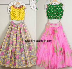 Designer Long Skirts and Crop Tops by Issa – South India Fashion Crop Top Designs, Blouse Designs, Indian Dresses, Indian Outfits, Kids Lehenga, Indian Attire, Indian Wear, Bride Indian, India Fashion