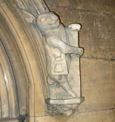 """The """"Pilgrim Rabbit"""" at St. Mary's Church was carved in 1325 and is thought to be the model for Wonderland's White Rabbit."""