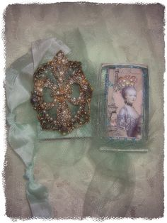 Vintage Dragonfly  Altered matchbox and altered Marie domino