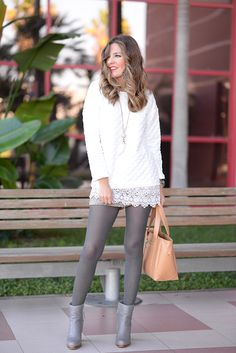 25 best ideas about grey tights on winter - Pantyhose Fashion, Pantyhose Outfits, Fashion Tights, Pantyhose Legs, Cozy Fashion, Nylons, Women's Fashion, Colored Tights Outfit, Grey Tights