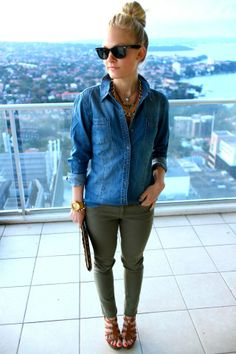 Chambray shirt + olive skinnies + cognac sandals.