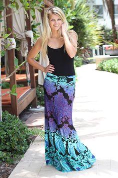 $29 - Aqua Printed Maxi Skirt