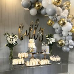 PartyWoo Gray and White Balloons 70 pcs 12 Inch Gray Balloons White Balloons Matte Balloons, Gold Confetti Balloons, Balloons for Wedding Graue und weiße PartyWoo-Luftballons 70 graue Luftballons 30 cm Baby Shower Balloons, Baby Shower Themes, Baby Shower Decorations, Christening Decorations, Baby Shower Table Set Up, Christening Balloons, Shower Ideas, Grey Baby Shower, Christening Party