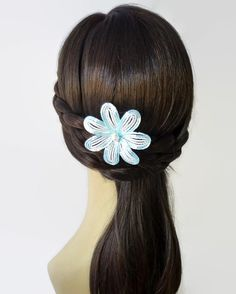 Large Beaded Flower Bobby Pin Pale Blue and White by LaurenHCreations on #Etsy